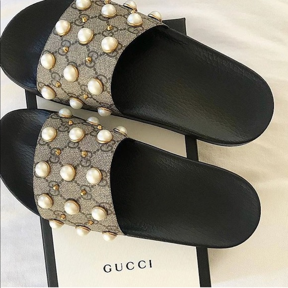 c6891c348 Gucci Shoes | Pearl Slides Size 36 6 612 Womens | Poshmark